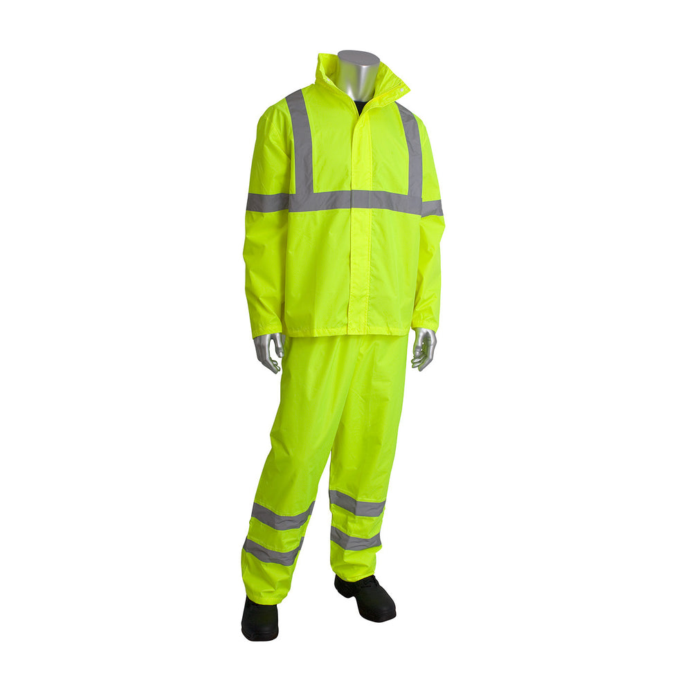 PIP 353-1000 Lightweight Waterproof ANSI Class 3 Hi-Vis Yellow Rainsuit