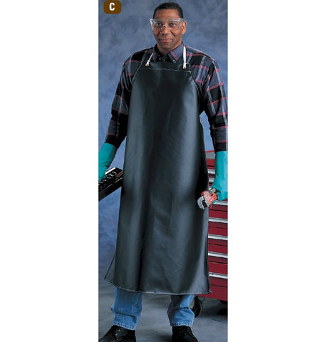 "Heavy Weight Black Neoprene Chemical Apron - 36"" x 45"""
