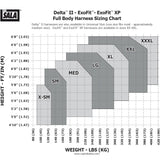 DBI Sala 110857X ExoFit XP Fall Protection Harness - 3 D-Ring - Size Chart