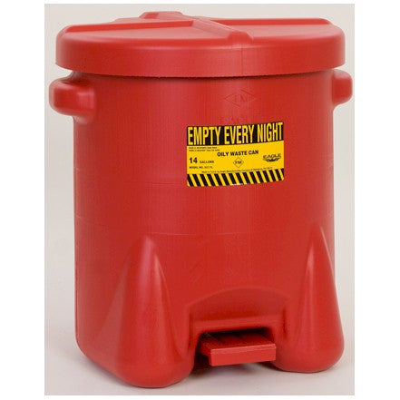 Eagle Plastic Oily Waste Can - Red