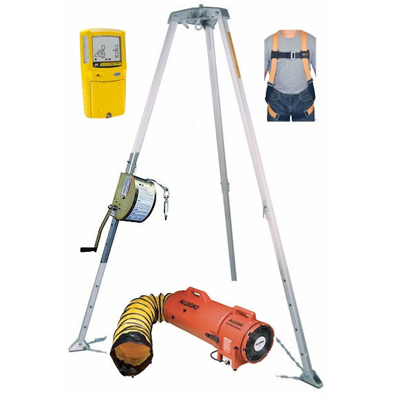Confined Space Kit Miller Tripod Rescue System BW Max XT II Gas Monitor and Blower