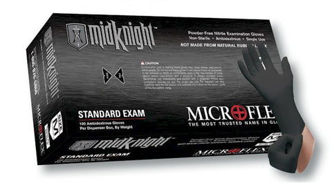 Microflex MK-296 MidKnight Powder-Free Black Nitrile Glove