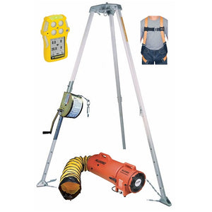 Confined Space Kit Miller Tripod Rescue System BW Quattro Gas Monitor and Blower