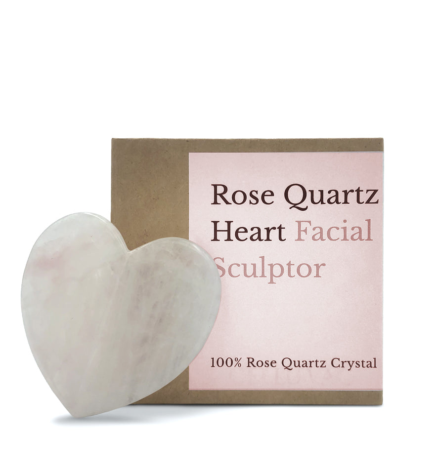 Rose Quartz Heart Gua Sha - 100% Rose Quartz Crystal
