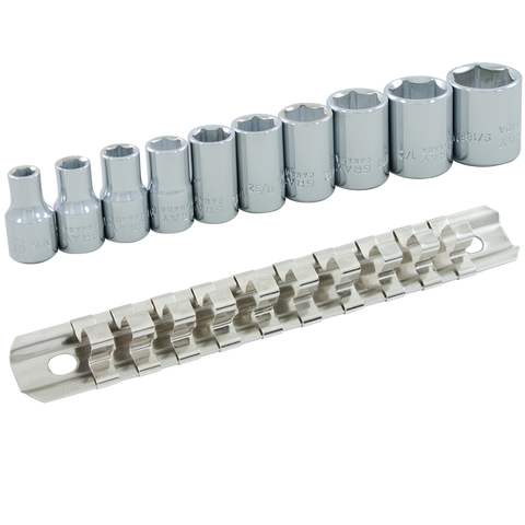 "1/4"" Dr. 10 Piece 6 Point Standard SAE Socket Set"