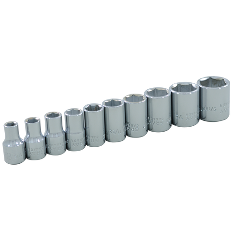 10 piece 6 point standard SAE socket set