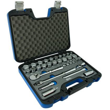 33 Piece 12 Point SAE & Metric Socket & Attachment Set