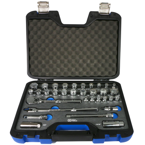 "3/8"" Dr. 33 Piece 6 Point SAE & Metric Socket & Attachment Set"