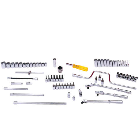 "68 Piece 3/8"" Drive Chrome 12 Point SAE Socket & Attachment Set - Tools Only"