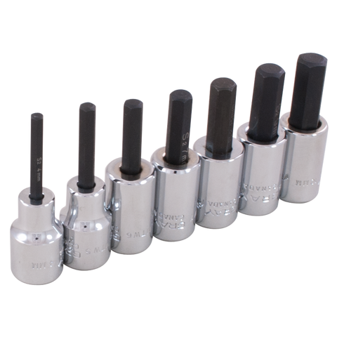 "7 piece 3/8"" drive metric hex head socket set"