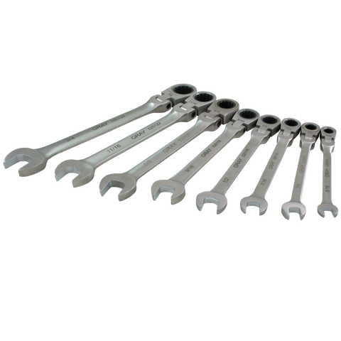 8 piece SAE combination flex head multigear geared wrench set