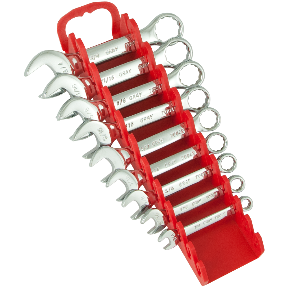 9 Piece 12 Point SAE Stubby Mirror Chrome Wrench Set