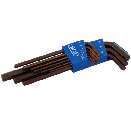 9 pieces metric long arm S2 hex key set