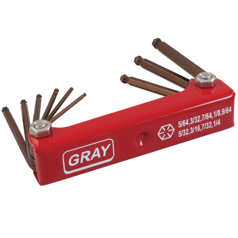 9 piece SAE folding hex key set