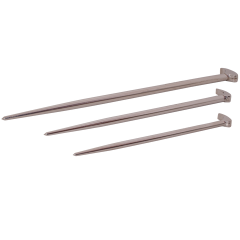 3 piece rolling head pry bar set nickel plated finish