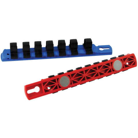 "1/2"" drive socket organizers with magnetized rails for SAE sockets red"