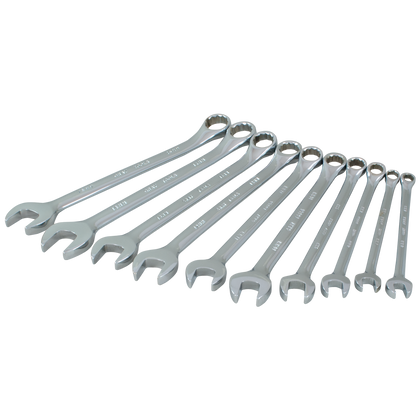 10 piece 12 point metric mirror chrome wrench set