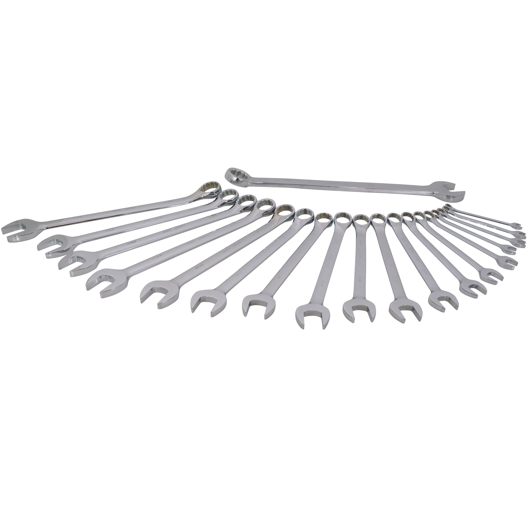 19 Piece 12 Point Metric Mirror Chrome & Satin Finish Wrench Set