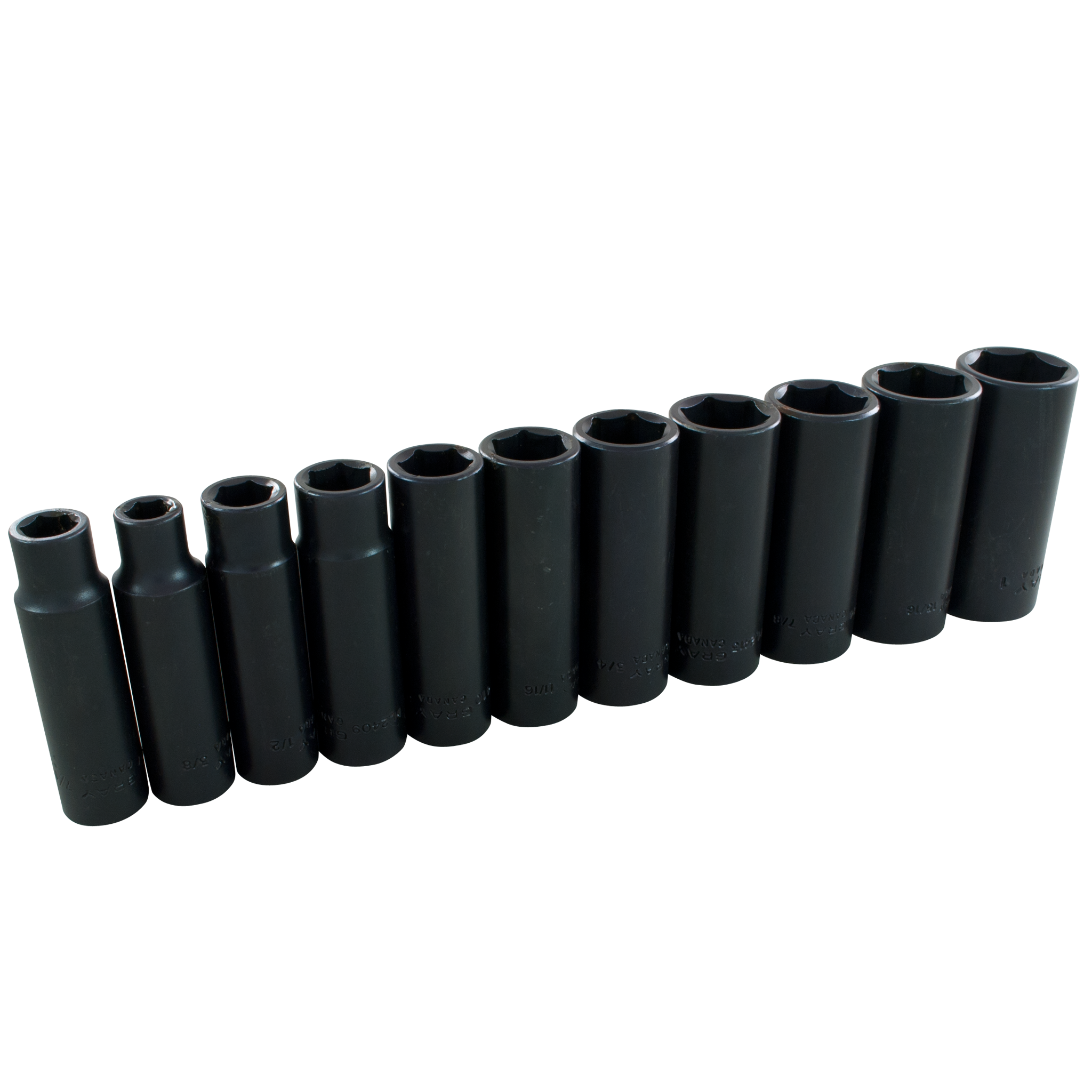 "1/2"" Dr. 11 Piece 6 Point Deep SAE Impact Socket Set"