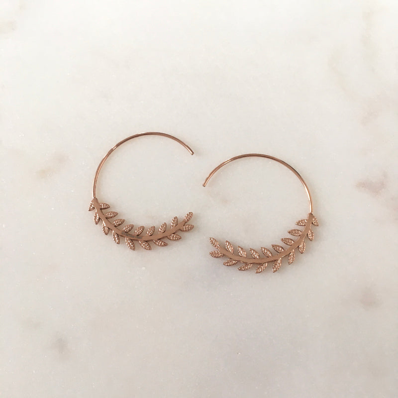 Boucles Daphné Laurier or ou rose gold