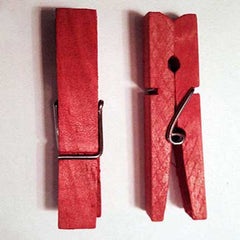 Dyed red clothespins
