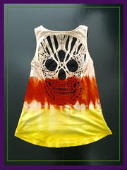 Dyed Halloween Skull Candy Corn Tank