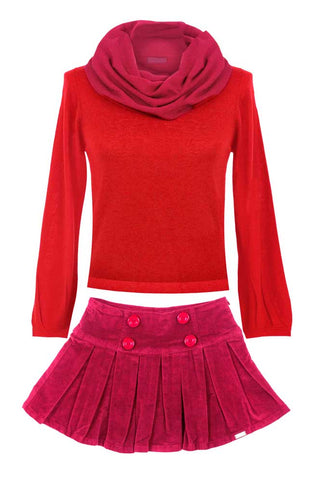 Red Sweater & Skirt
