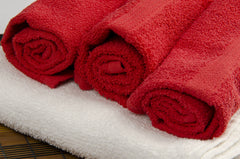 red & white towels