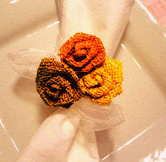 Thanksgiving burlap floral napkin holders