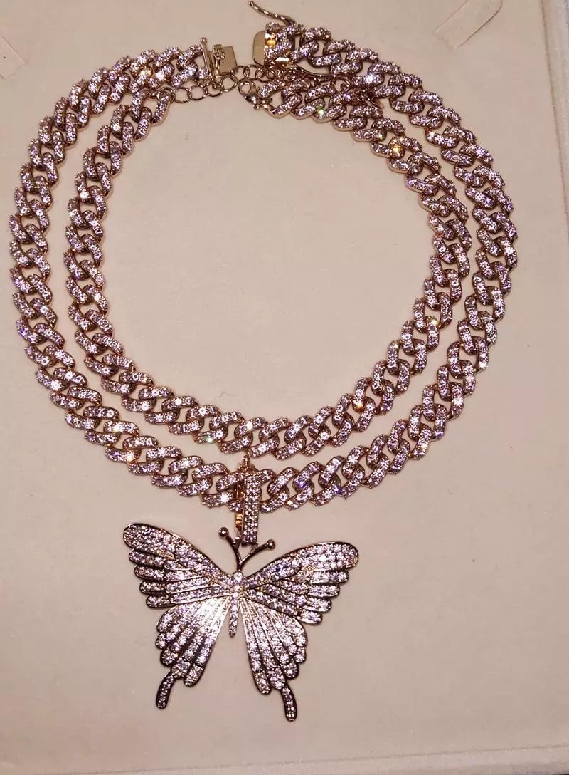 Pink Butterfly Cuban Chain