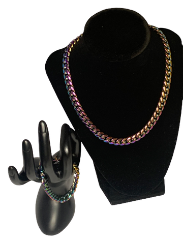 Iridescent Cuban Chain and Bracelet Set