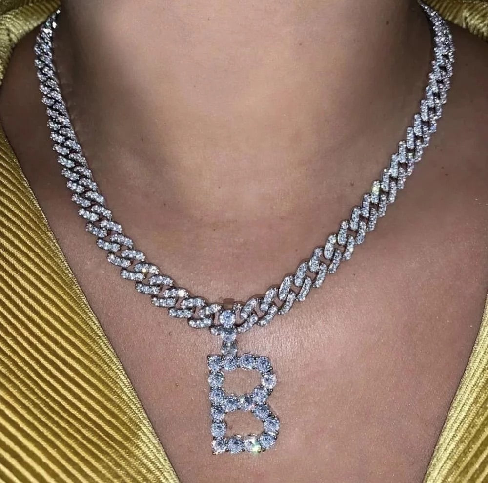8mm Initial Cuban Chain Necklace