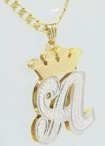 PERSONALIZED 14K GP 3D DOUBLE PLATED SCRIPT INITIAL PENDANT W/ ROLEX CROWN
