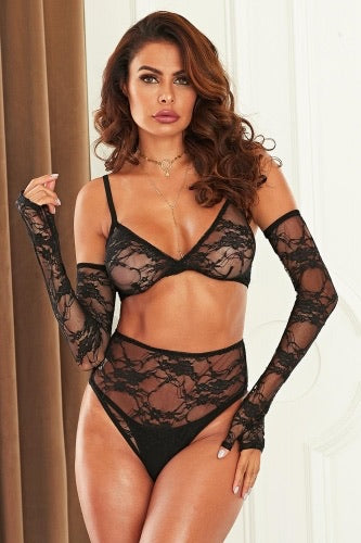 Feels Good Being Bad 3 Piece Bralette Lingerie Set