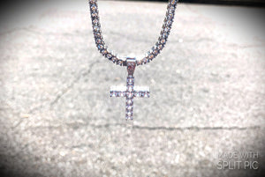 Tennis Chain w/ Diamond Cross