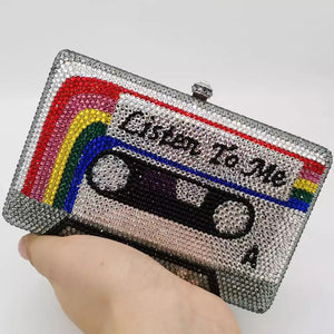 Listen to Me Cassette Diamond Clutch