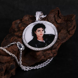 Circle Iced Out Personalized Photo Necklace