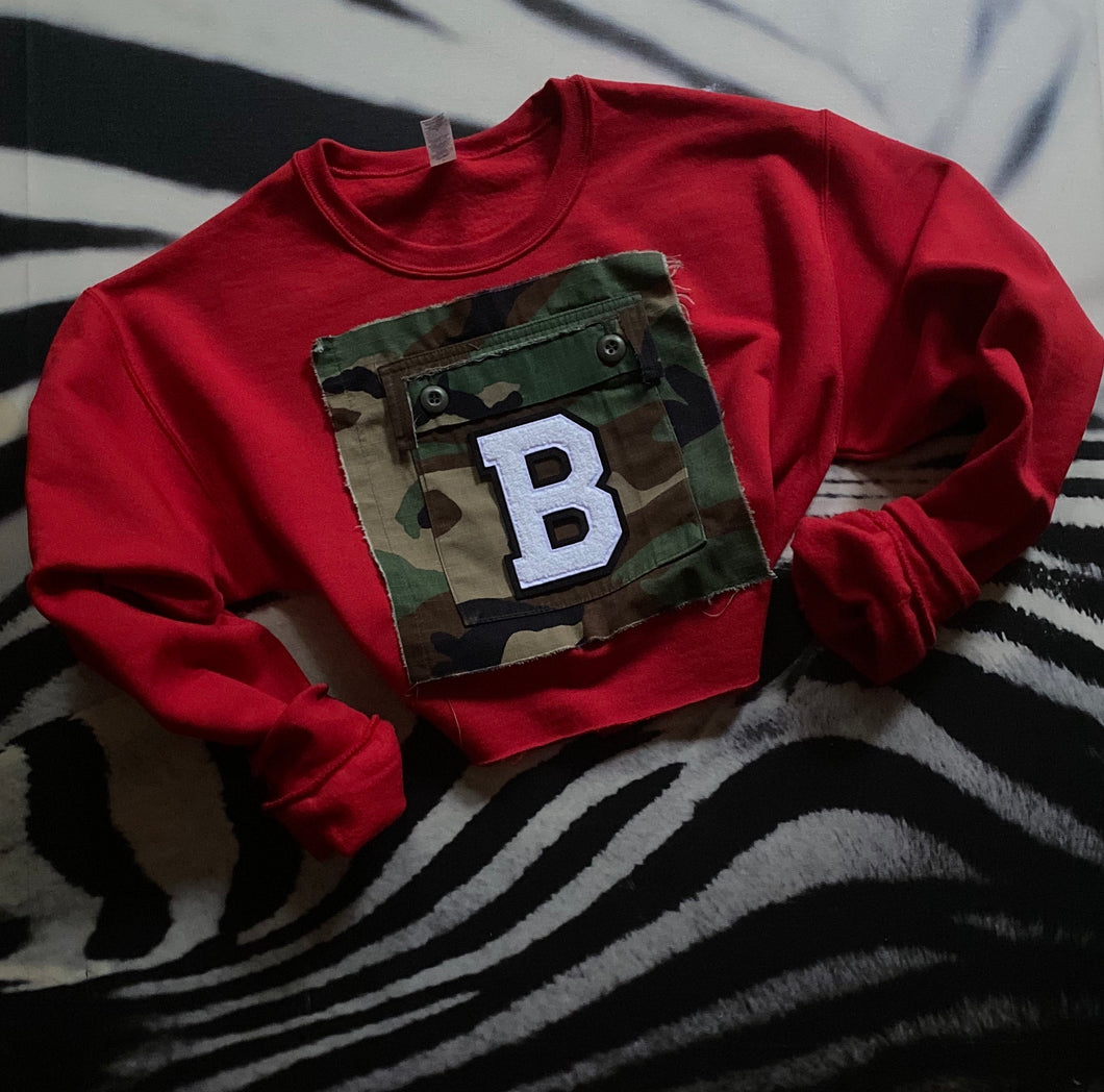 Vintage Army Pocket Initial Sweatshirt