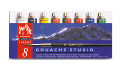 Gouache tubos de 10 ml - 8 Colores, 1 pincel - Caran d'Ache Colombia