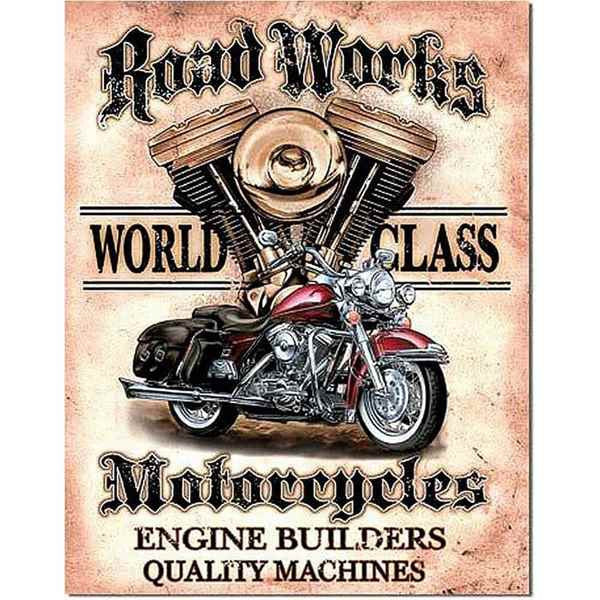 Road Works Motorcycles Metal Sign