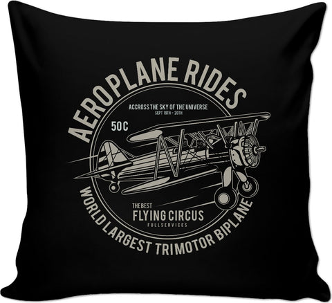Aeroplane Rides Couch Pillow on Black