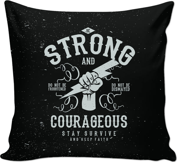 Be Strong Couch Pillow on Black