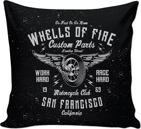 Wheels of Fire on Black Couch Pillow
