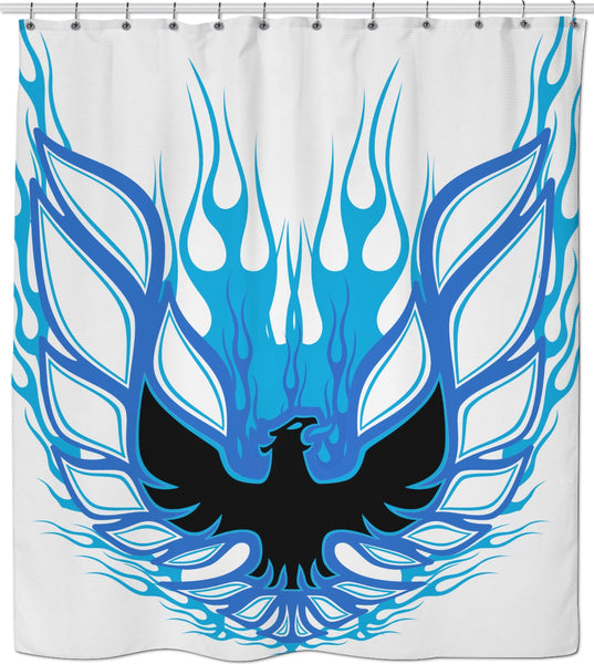 Rise of the Phoenix Blue Shower Curtain