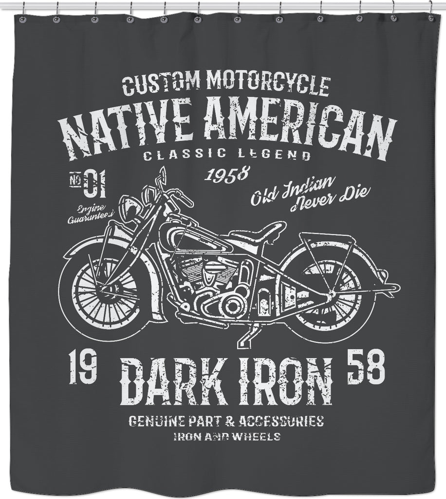 Native American Motorcycle Custom Shower Curtain MotorCityHardware
