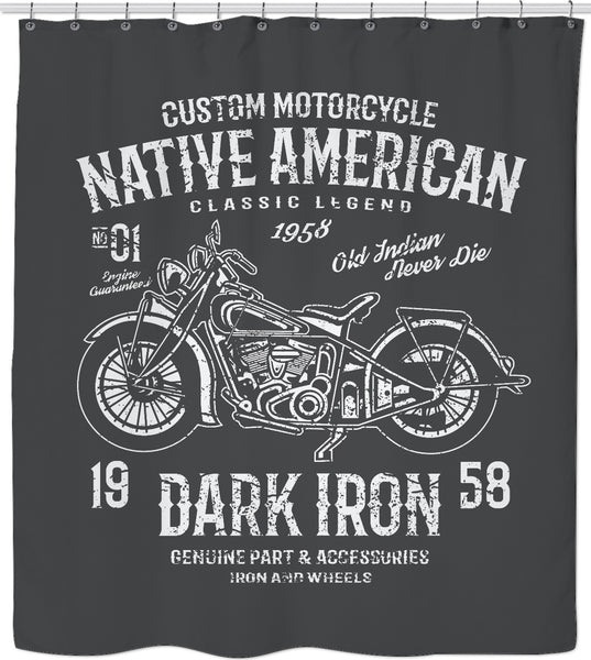 Native American Motorcycle Custom Shower Curtain