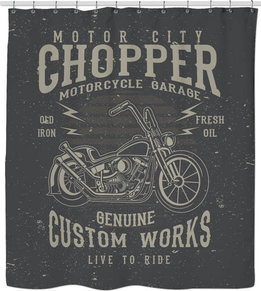 Motor City Chopper Custom Shower Curtain