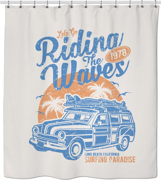 Riding the Waves Custom Shower Curtain