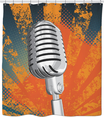 Retro Microphone Custom Shower Curtain