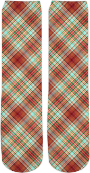 70s Plaid Custom Crew Socks